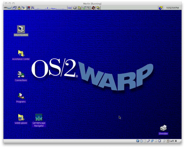 The OS/2 Warp WorkPlaceShell desktop, from os2museum.com, by way of Ars Technica