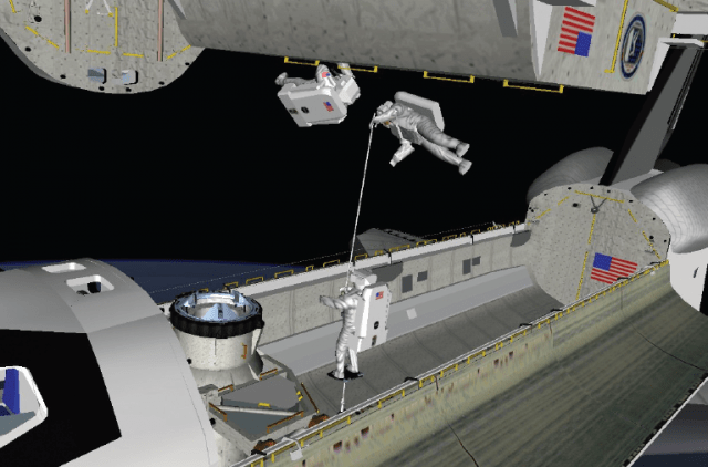 NASA animatic showing <em>Atlantis</em> EV1 and EV2 in the gap between the two shuttles' cargo bays. EV2's feet are fixed in a portable foot restraint, and the astronaut is moving EV1 across the gap with a boom.