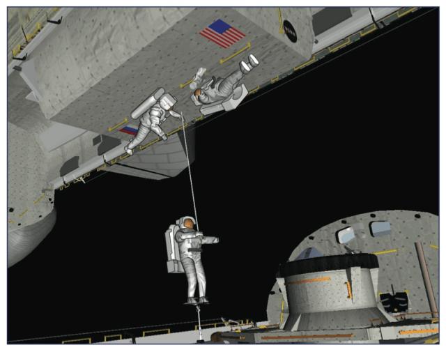 Another view of the crew transfer between <em>Columbia</em> and <em>Atlantis</em>.