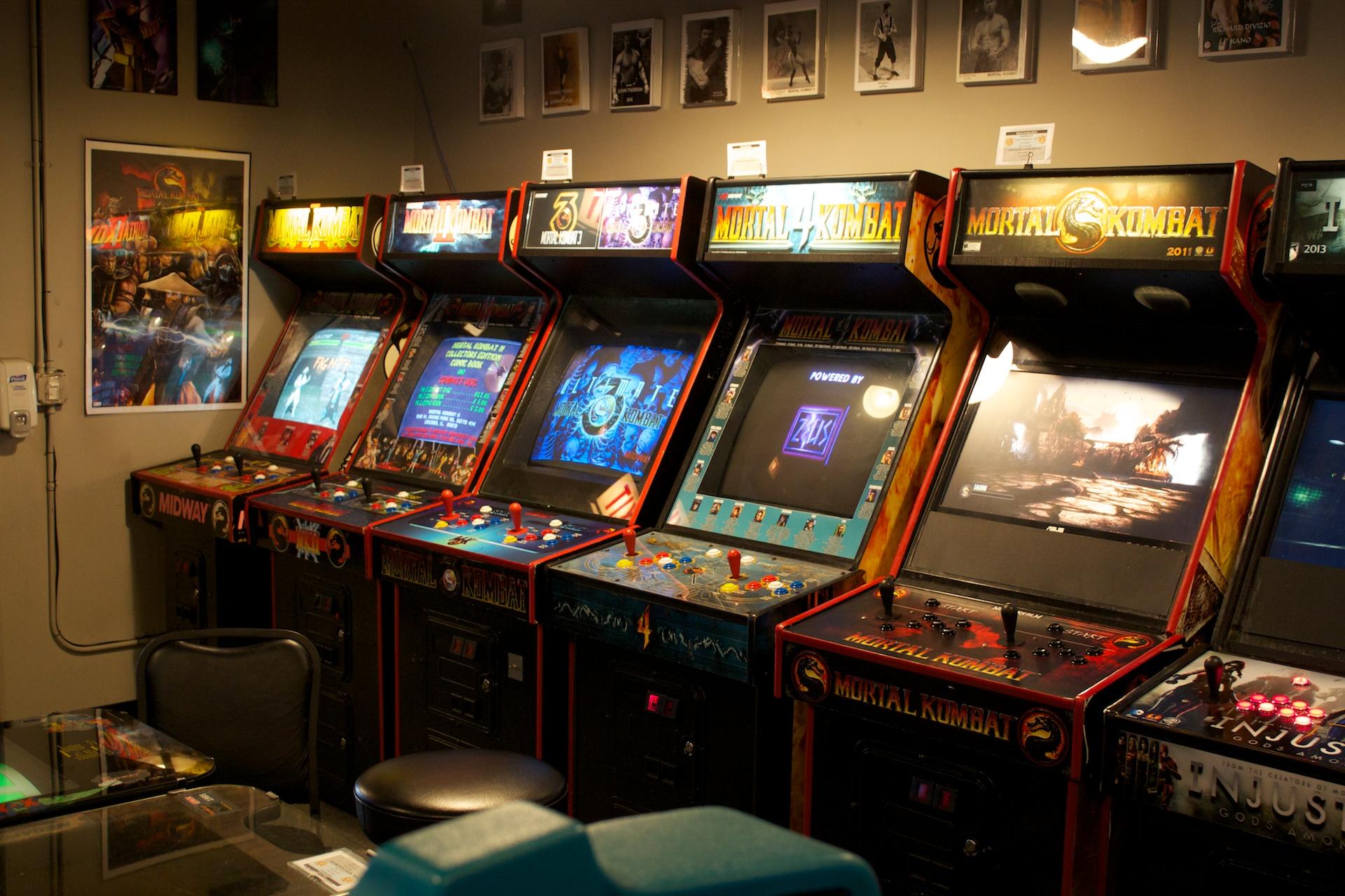 An array of <i>Mortal Kombat</i> cabinets.