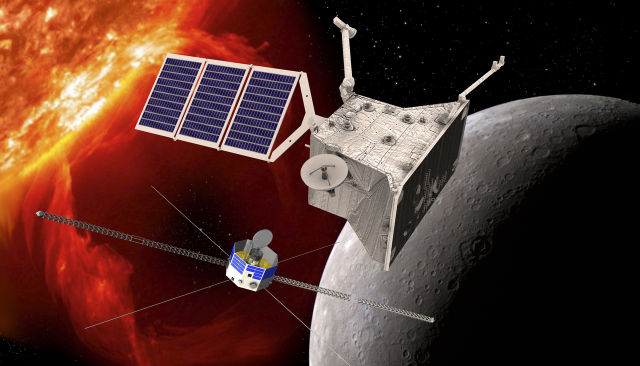 From 2015: An artist's rendering of the BepiColombo mission, a joint ESA/JAXA project, which will take two spacecraft to the harsh environment of Mercury.