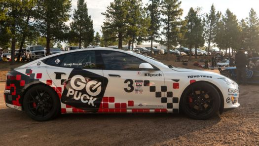 This Tesla might be the first EV to comply with the new federal safety standard. It raced at this year's Pikes Peak International Hill Climb, which requires electric vehicles to announce their presence with a siren or other audible warning for corner workers.