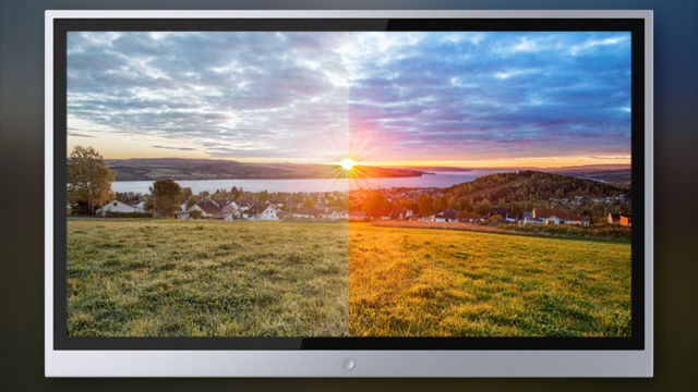 A photoshopped interpretation of upgrading to sweet new screen technology.