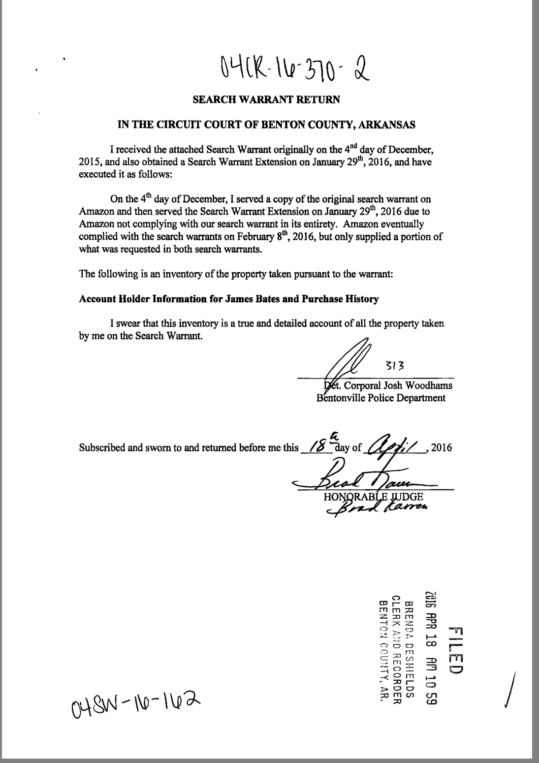 Report filed with the court on warrants served to Amazon for James Bates'  Echo data
