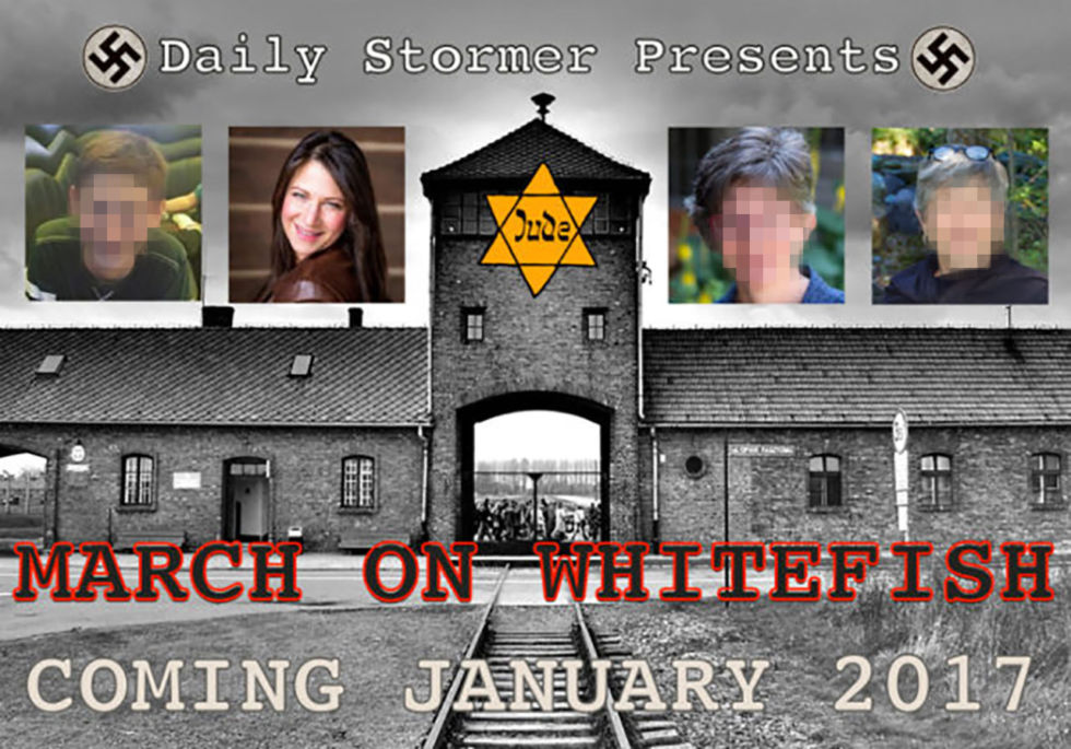 """Graphic promoting the Daily Stormer's armed """"March on Whitefish."""""""