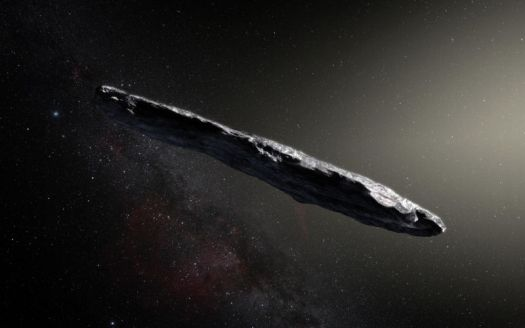 An artist's impression of the oddly shaped interstellar asteroid `Oumuamua.