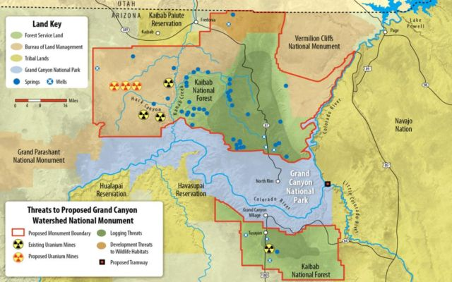 A 2015 map from the environmental advocacy group Sierra Club shows existing and proposed uranium mines.