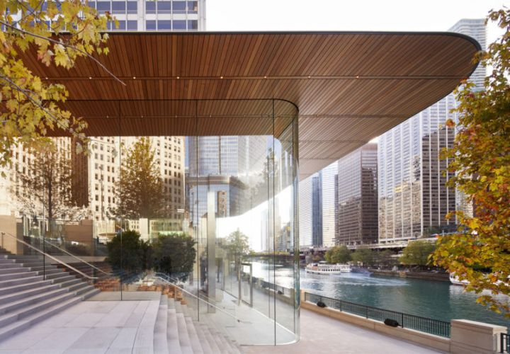 An exterior view of the Apple Store on the Chicago River.