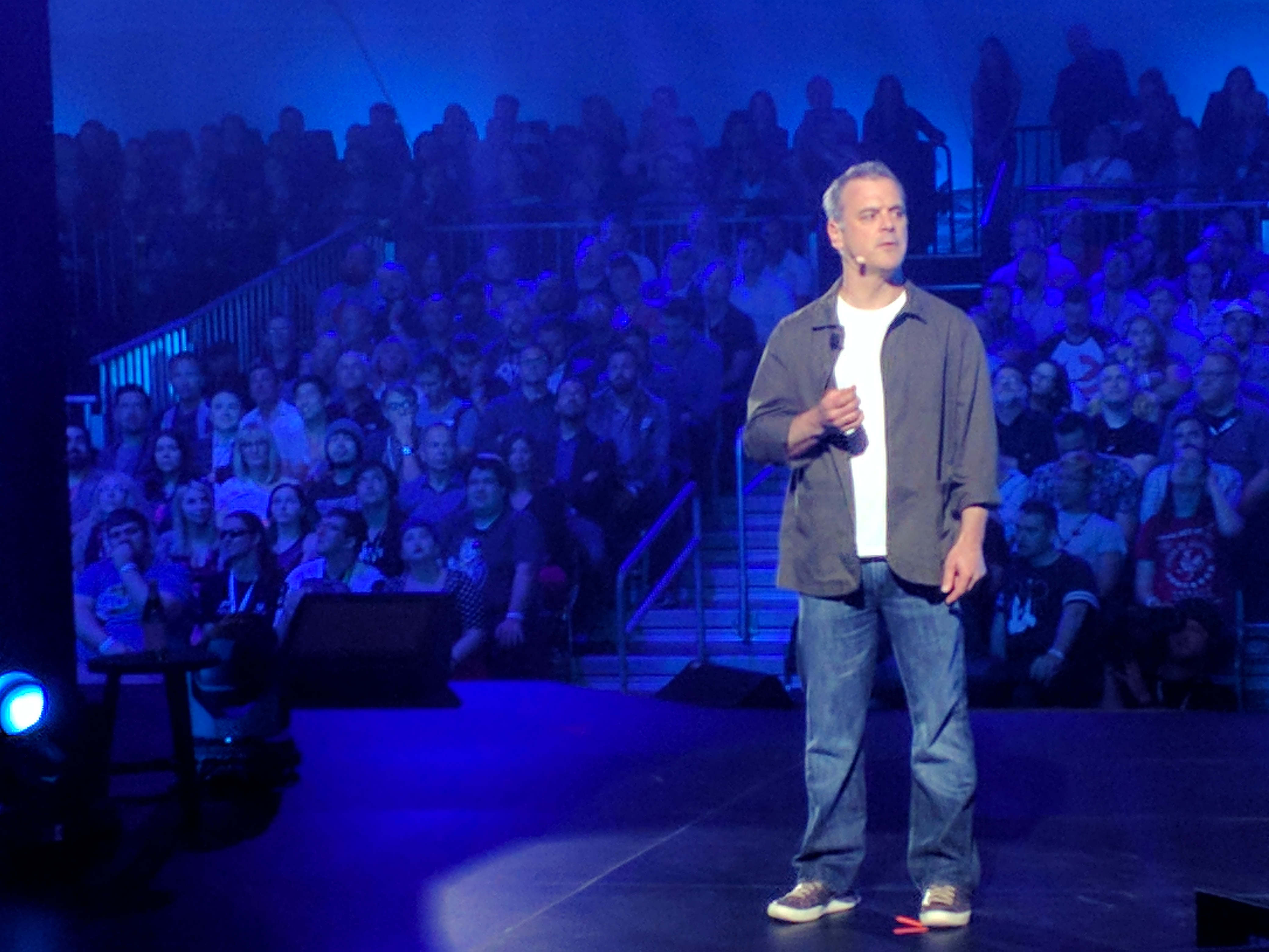 Bethesda CEO Pete Hines speaks at the publisher's pre-E3 conference.