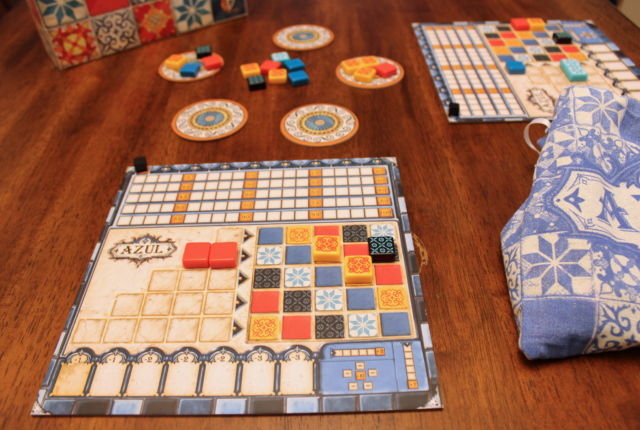 <em>Azul</em> in play—a two-player game in progress.