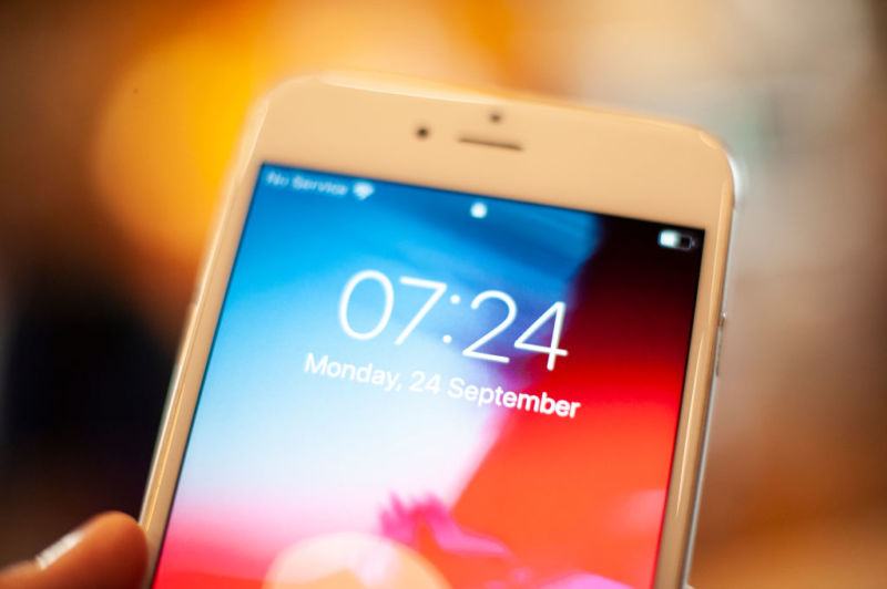An Apple iPhone lock screen is seen in this photo illustration on September 24, 2018.