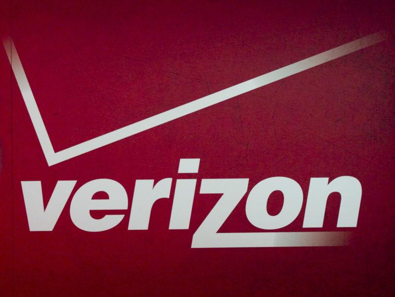 A Verizon logo at the 2012 Consumer Electronics Show in Las Vegas.