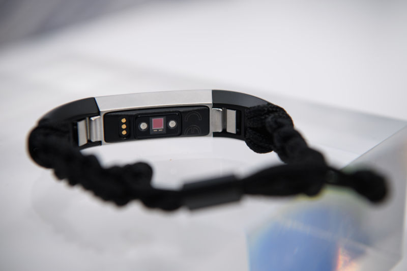 A close up of the underside of the Fitbit Alta HR, which tracks a users heart rate