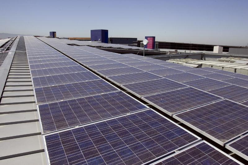 Solar panels on Google rooftop