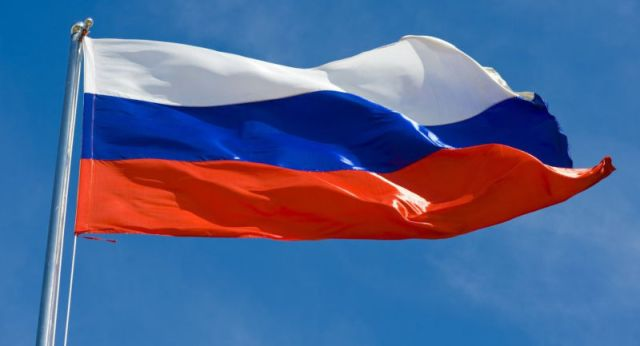 Russian flag in the breeze.
