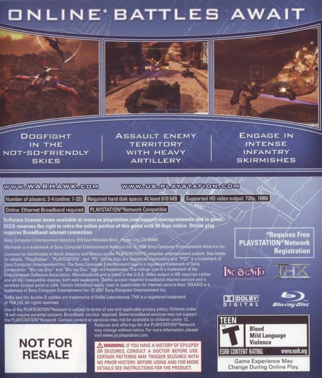 """The back cover for the original release of <em>Warhawk</em> promises """"90 days notice"""" before servers are shut down."""