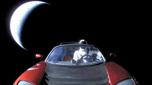 A launch-day photo of Starman leaving Earth orbit.