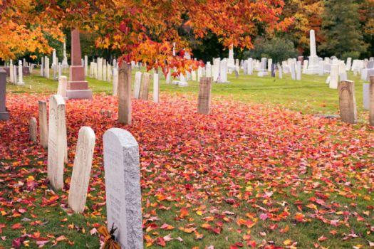 Cemetry in Craftsbur in Autumn Season, Common, Vermont, New England