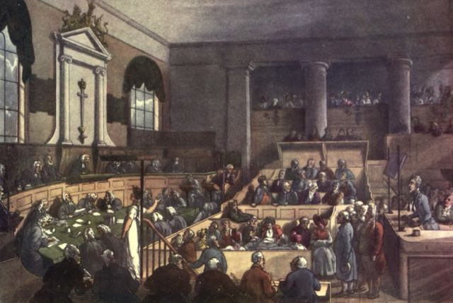 Depiction of a trial in London's Old Bailey Courthouse (1809)