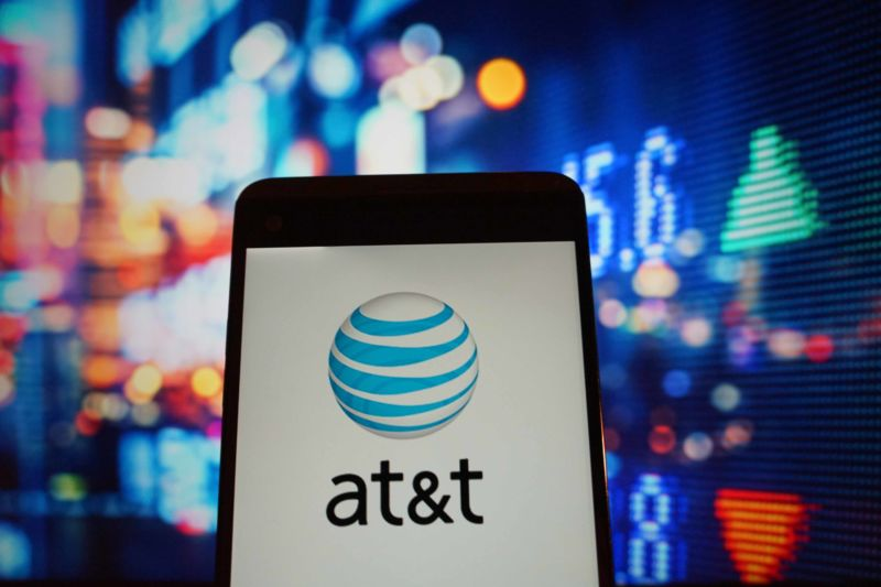 The AT&T logo displayed on a smartphone screen.