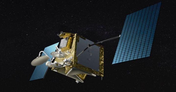 Illustration of a OneWeb satellite in space.
