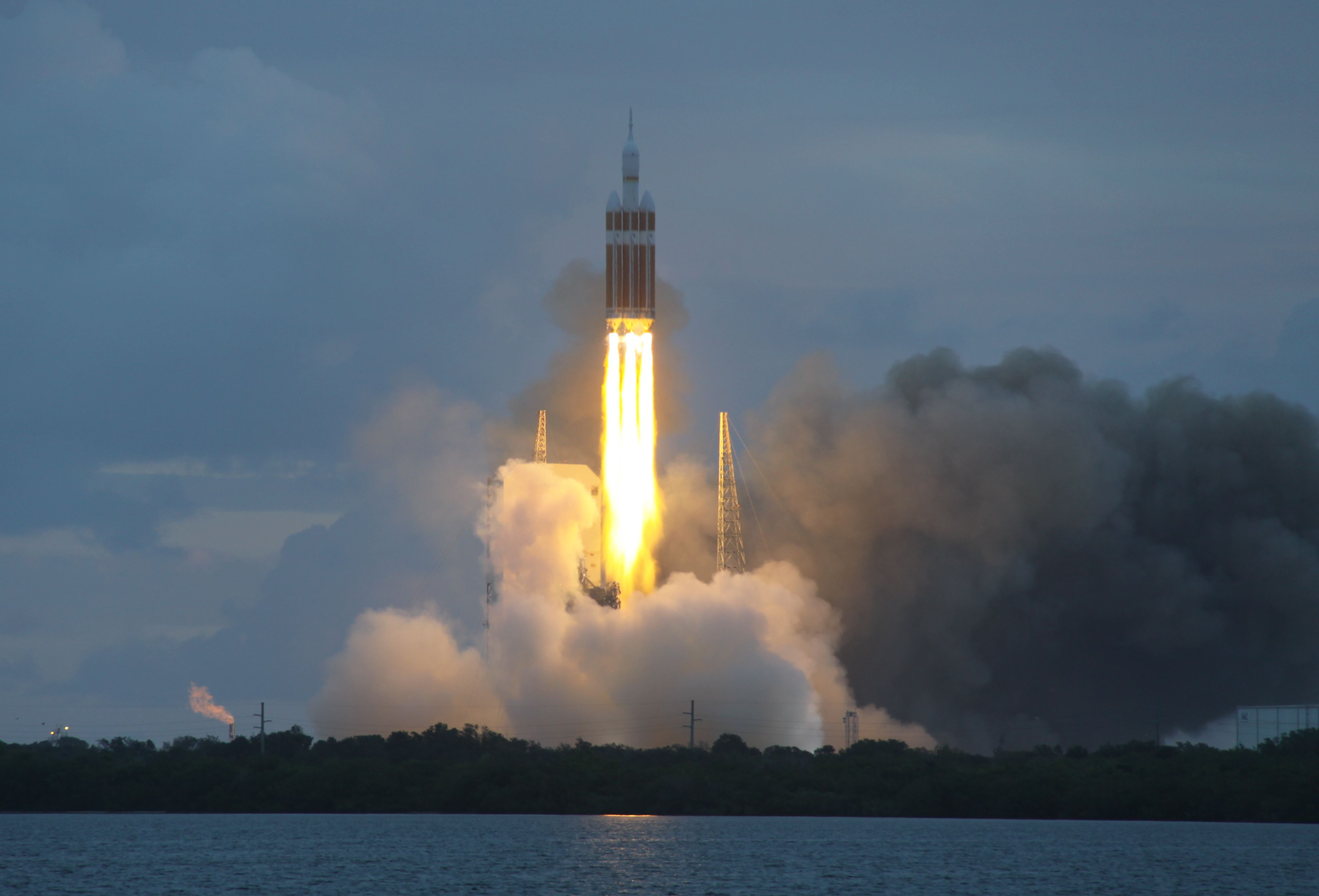 A Delta IV Heavy rocket launches the Orion spacecraft in 2014.