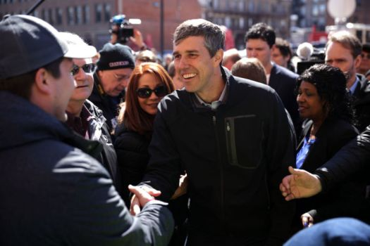 WATERLOO, IOWA - MARCH 16: Democratic presidential candidate and former Cult of the Dead Cow member  Beto O'Rourke greets voters during a canvassing kickoff event with state senate candidate Eric Giddens March 16, 2019, in Waterloo, Iowa.