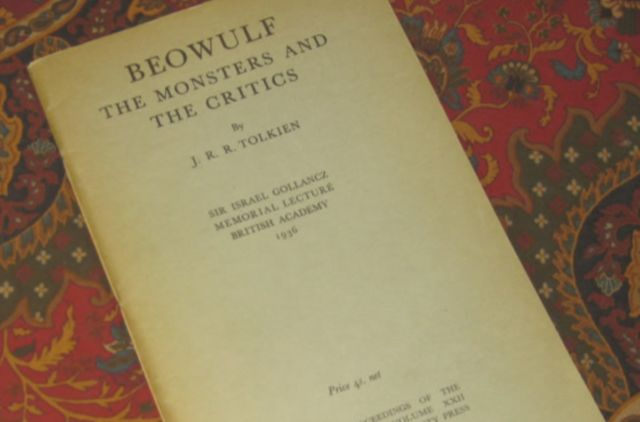 """A copy of J.R.R. Tolkien's seminal manuscript, """"<em>Beowulf</em>: The Monsters and the Critics,"""" reprinted lithographically at the University Press, Oxford from sheets of the first edition, 1958, 1960."""