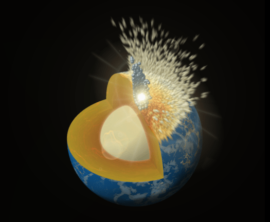 Image of a small object smashing in to a cutaway off the Earth.