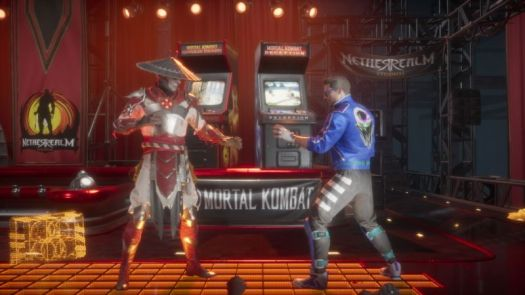 Classic characters (klassic karacters?) Raiden and Johnny Cage face off in a nostalgic-themed arcade level.