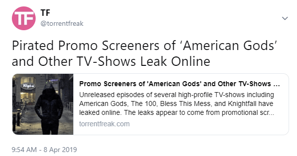Screenshot of a TorrentFreak tweet from before it was removed by Twitter.