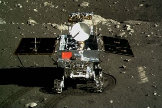 Image of a small rover on the Moon.