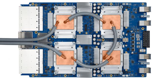 A circuit board containing Google's tensor processor unit.