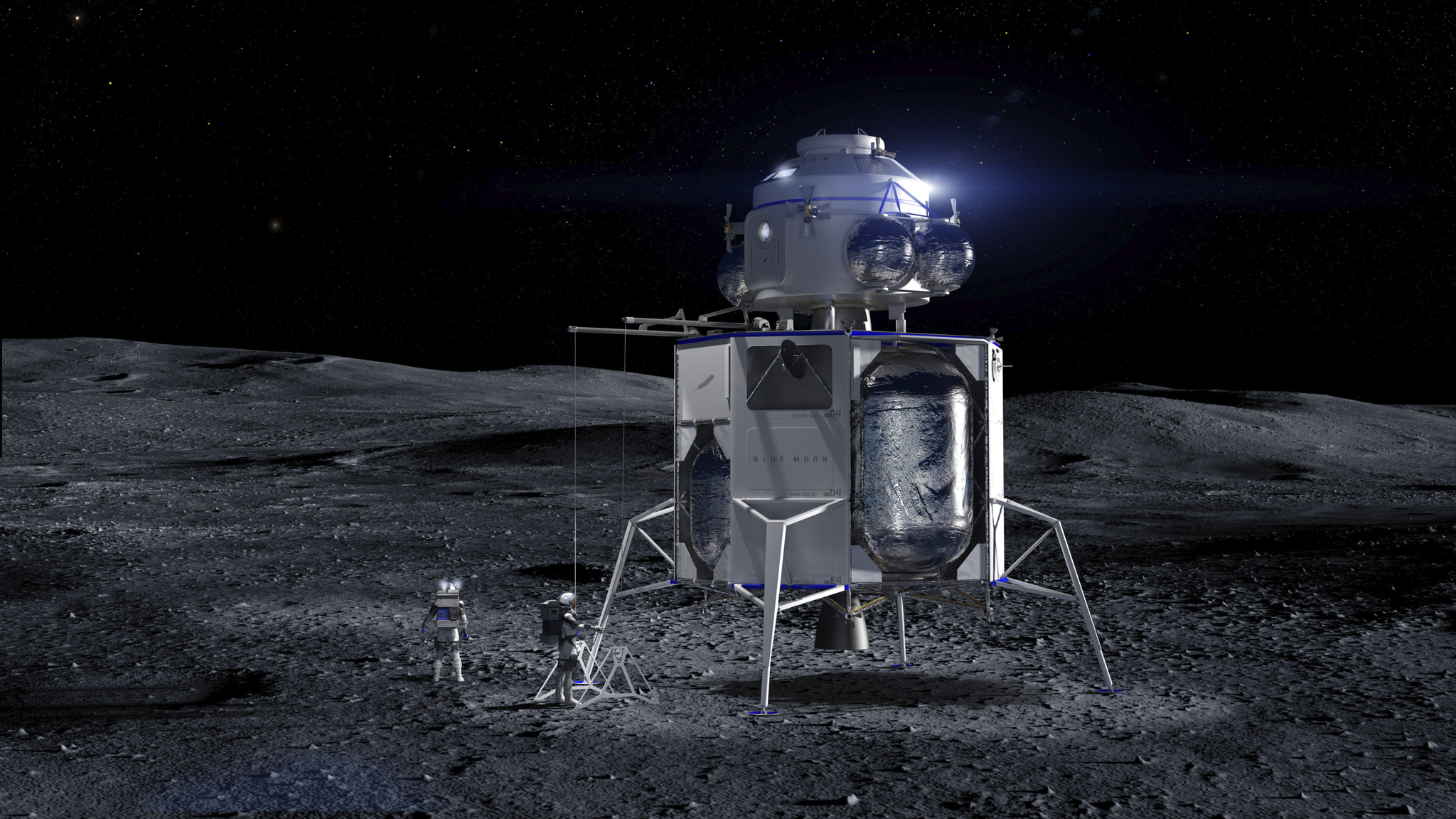A Blue Moon lander with an ascent vehicle (built by another company) on top.