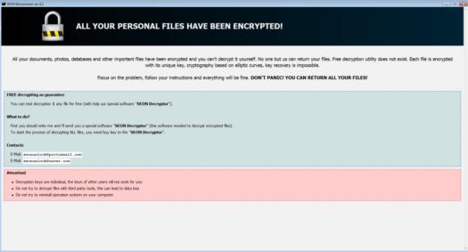 Screenshot of ransomware.