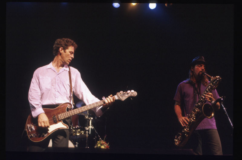 Bass guitarist Mark Sandman and saxophonist Dana Colley in concert with their band Morphine in the '90s.