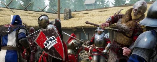 A bunch of white guys fighting with medieval weaponry in <em>Mordhau</em>.