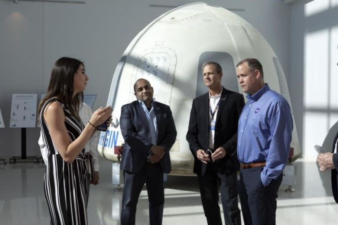 NASA Administrator Jim Bridenstine, far right, tours the Blue Origin facilities near the agency's Kennedy Space Center in Florida on May 23, 2019.