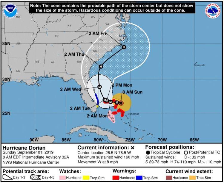 National Hurricane Center forecast for Dorian in effect on Sunday morning.