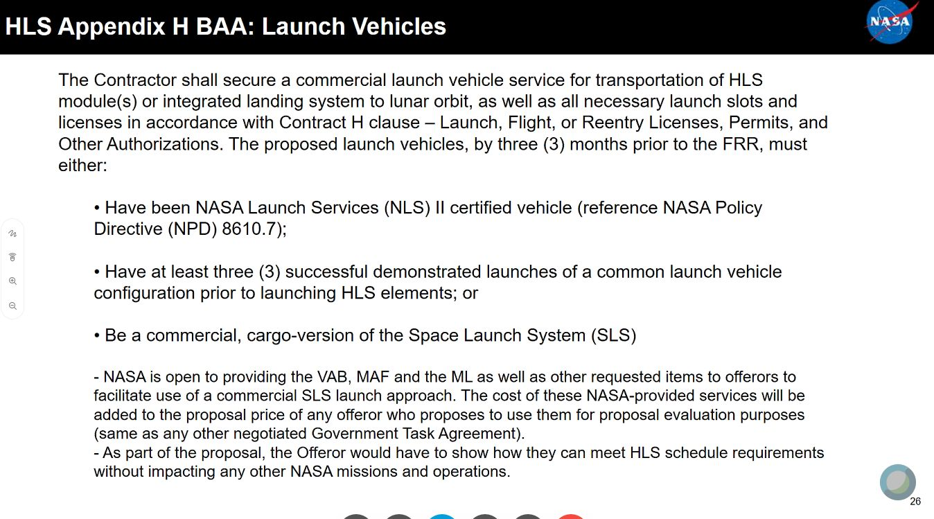 Human Landing System booster considerations.