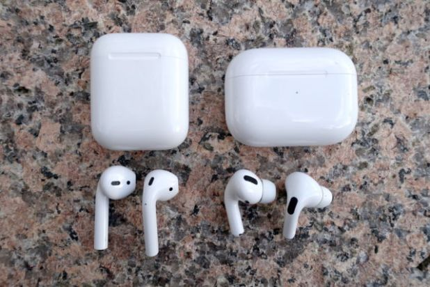 Apple's AirPods (left) and noise-canceling AirPods Pro.