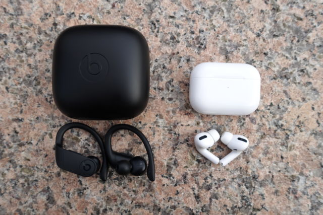 The Beats Powerbeats Pro (left) and Apple AirPods Pro.