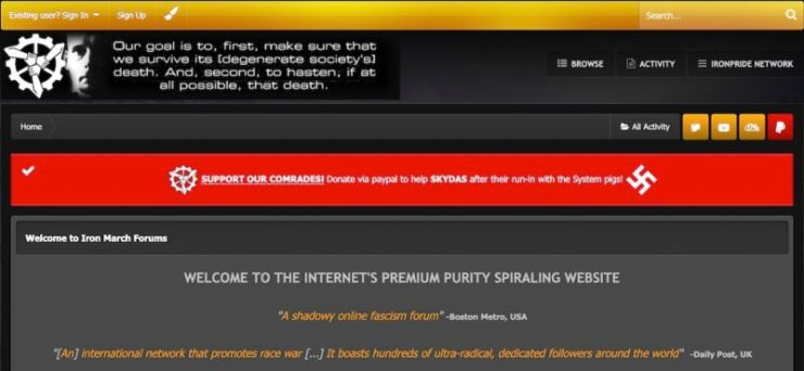 Screenshot of white supremacist website.