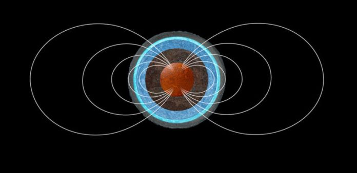 Image of magnetic field lines originating in the planetary nucleus.