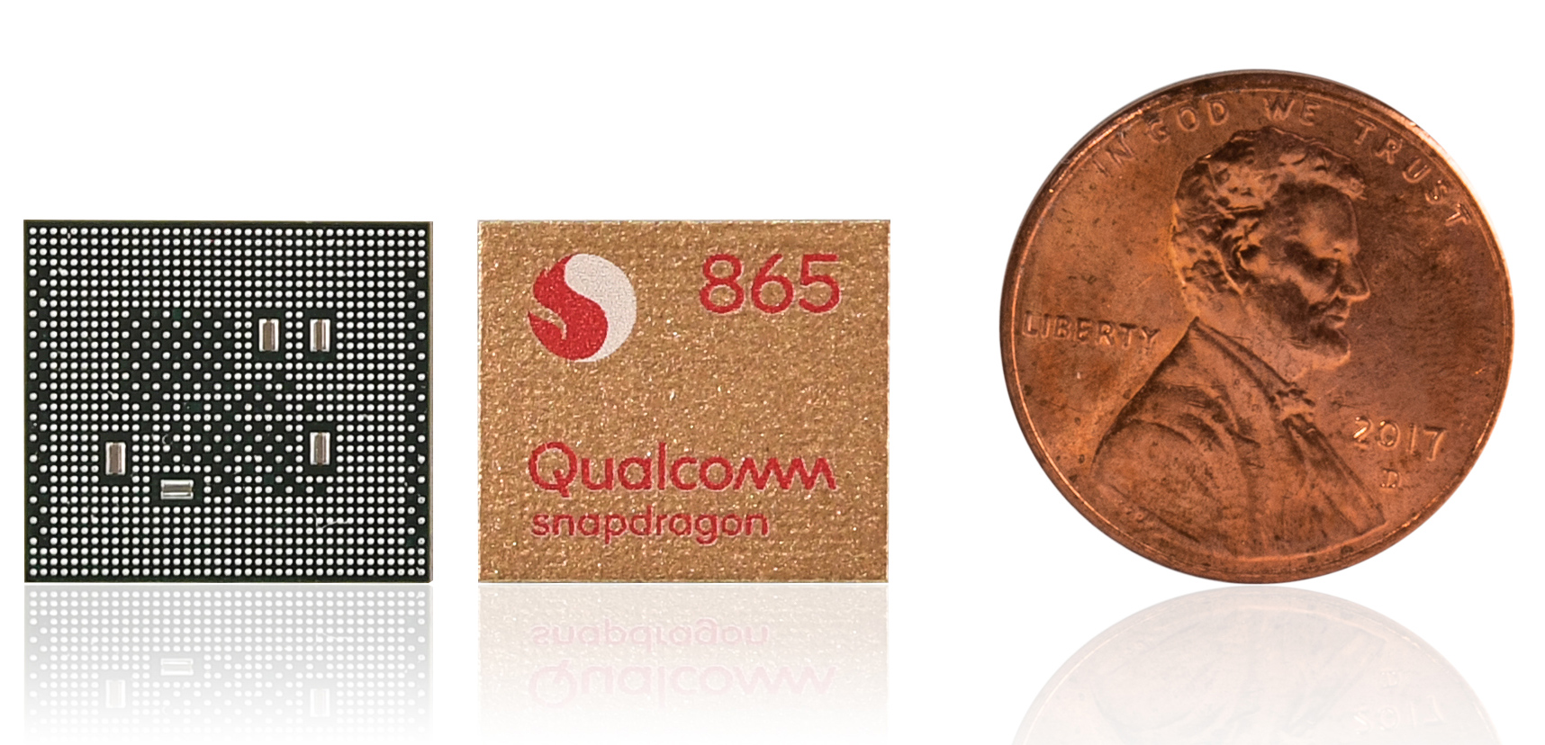 The Snapdragon 865 with a penny for scale.
