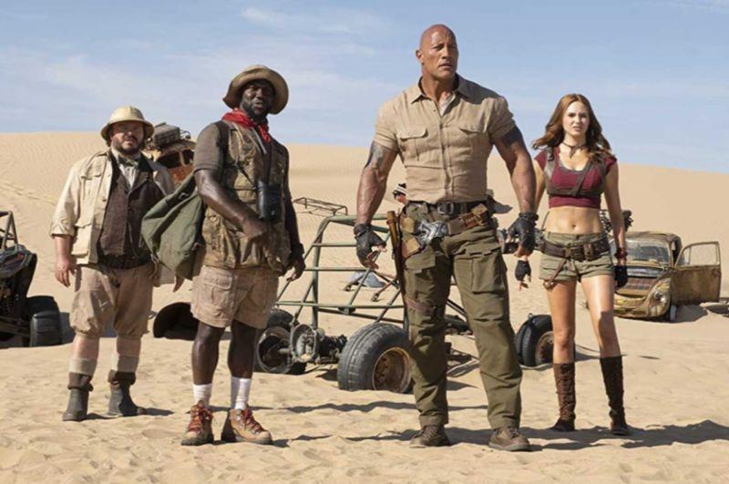 Jack Black, Kevin Hart, Dwayne Johnson, and Karen Gillan star in <em>Jumanji: The Next Level</em>.