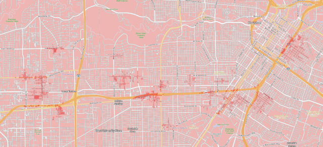 """Verizon's 5G Houston coverage as of December 2019, with 5G """"Ultra Wideband"""" in dark pink. For an idea of how much of the Houston metro this covers, you can zoom out from the same location at <a href=""""https://www.google.com/maps/place/Houston,+TX/@29.733833,-95.429167,14z/data=!4m5!3m4!1s0x8640b8b4488d8501:0xca0d02def365053b!8m2!3d29.7604267!4d-95.3698028"""">this Google Maps link</a>."""
