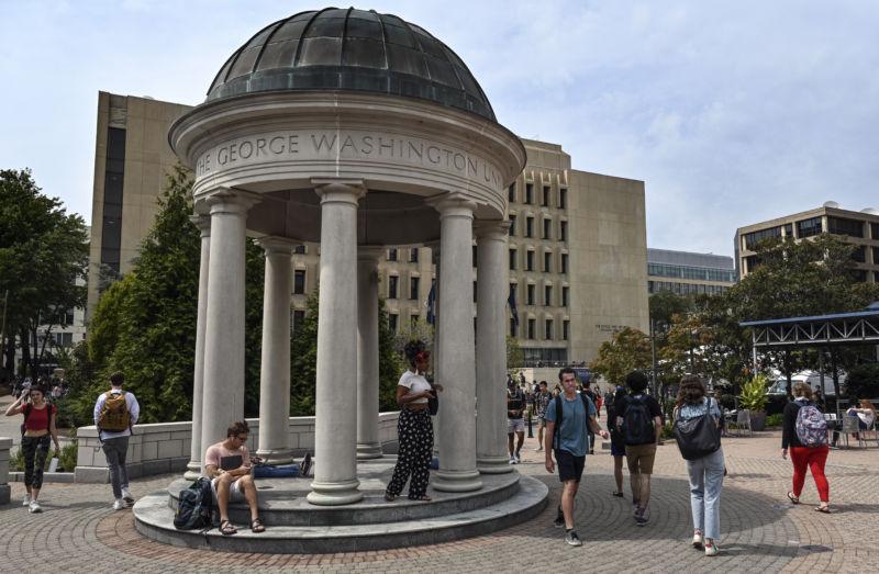 Exterior photograph of college campus.