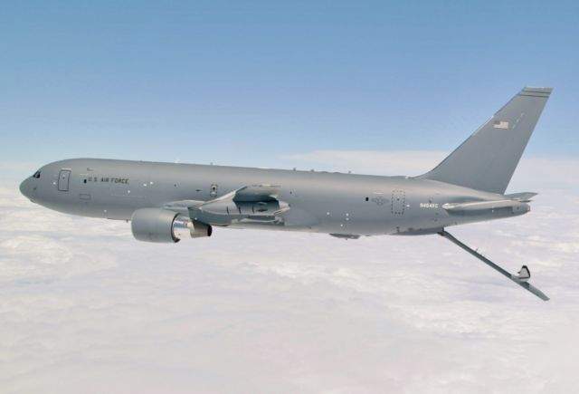 Boeing's KC-46 aerial refueling tanker conducts receiver-compatibility tests with a US Air Force C-17 Globemaster III from Joint Base Lewis-McChord in 2016.