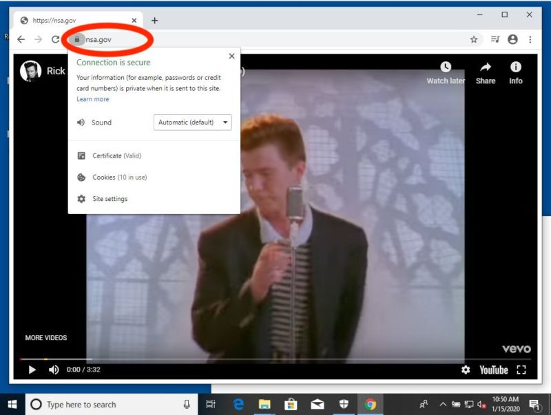 Chrome on Windows 10 as it Rickrolls the NSA.